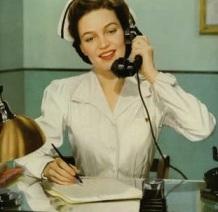 vintage nurse on phone