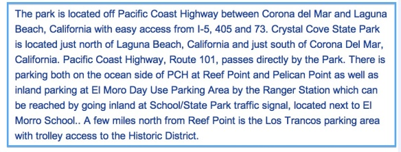 Crystal Cove Directions
